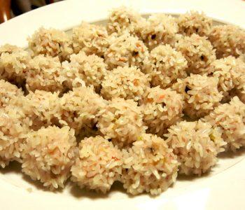 A mound of Siomai - Steamed Pork and Shrimp Dumplings - on a plate