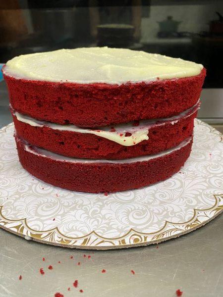 A naked Red Velvet Cake